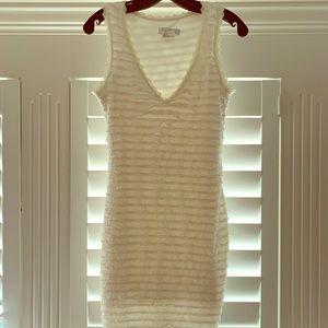 White Tiered Ruffle Sheath Dress